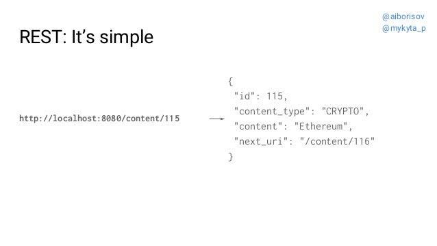 "REST: It's simple http://localhost:8080/content/115 { ""id"": 115, ""content_type"": ""CRYPTO"", ""content"": ""Ethereum"", ""next_ur..."