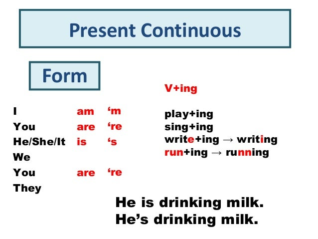 Present Continuous    Form                 V+ingI           am    'm     play+ingYou         are   're    sing+ingHe/She/I...