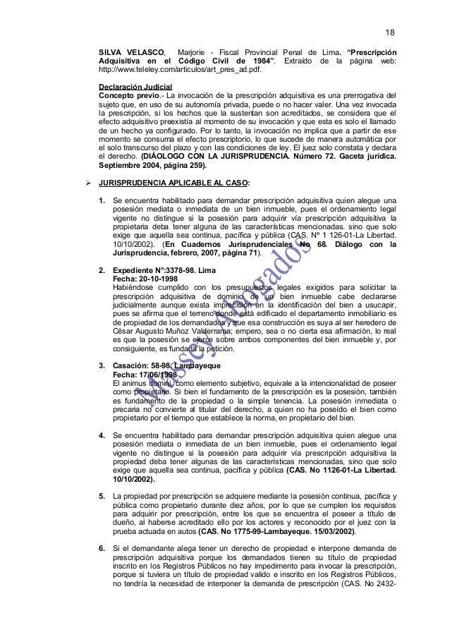 """18  SILVA VELASCO,         Marjorie - Fiscal Provincial Penal de Lima. """"Prescripción  Adquisitiva en el Código Civil de 19..."""