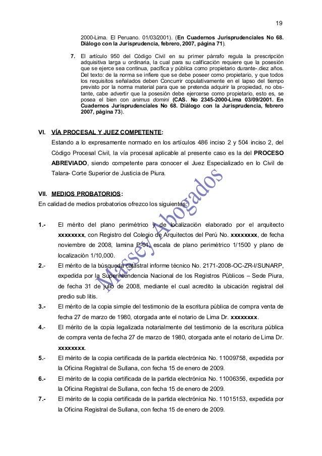 19                 2000-Lima. El Peruano. 01/03/2001). (En Cuadernos Jurisprudenciales No 68.                 Diálogo con ...