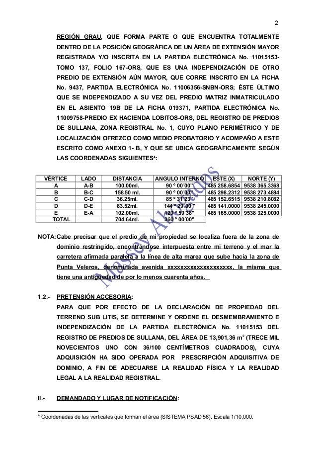MODELO DE DEMANDA DE PRESCRIPCIÓN ADQUISITIVA DE DOMINIO  Slide 2