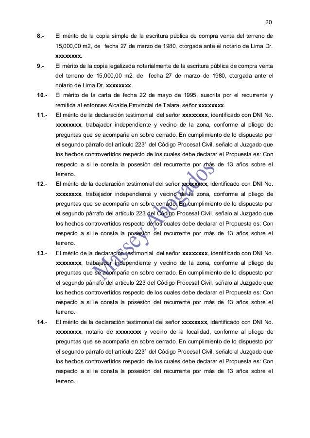 208.-    El mérito de la copia simple de la escritura pública de compra venta del terreno de       15,000,00 m2, de fecha ...
