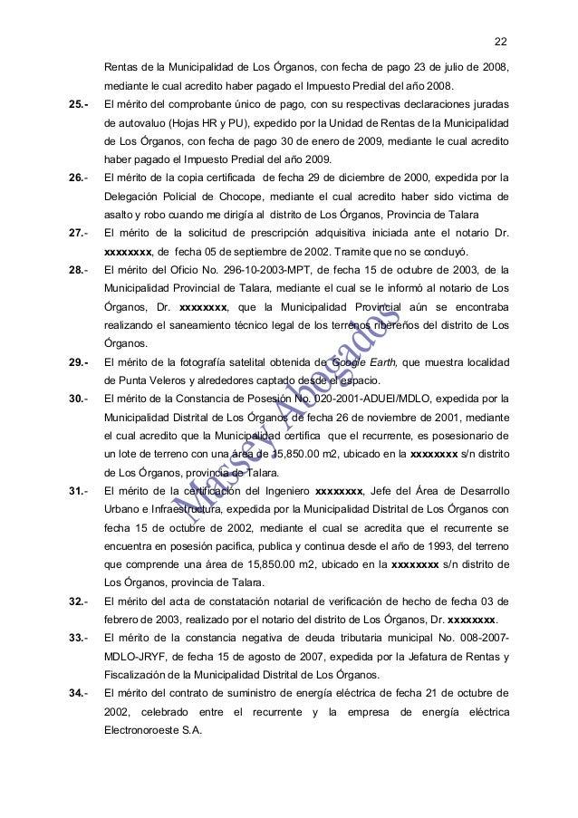 22       Rentas de la Municipalidad de Los Órganos, con fecha de pago 23 de julio de 2008,       mediante le cual acredito...