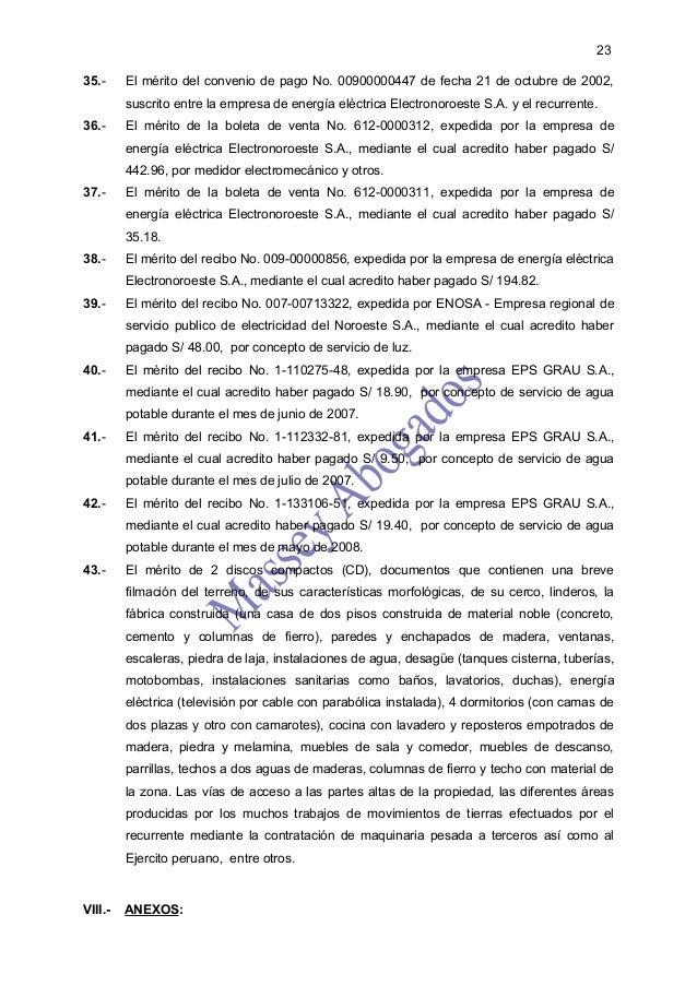 2335.-     El mérito del convenio de pago No. 00900000447 de fecha 21 de octubre de 2002,         suscrito entre la empres...