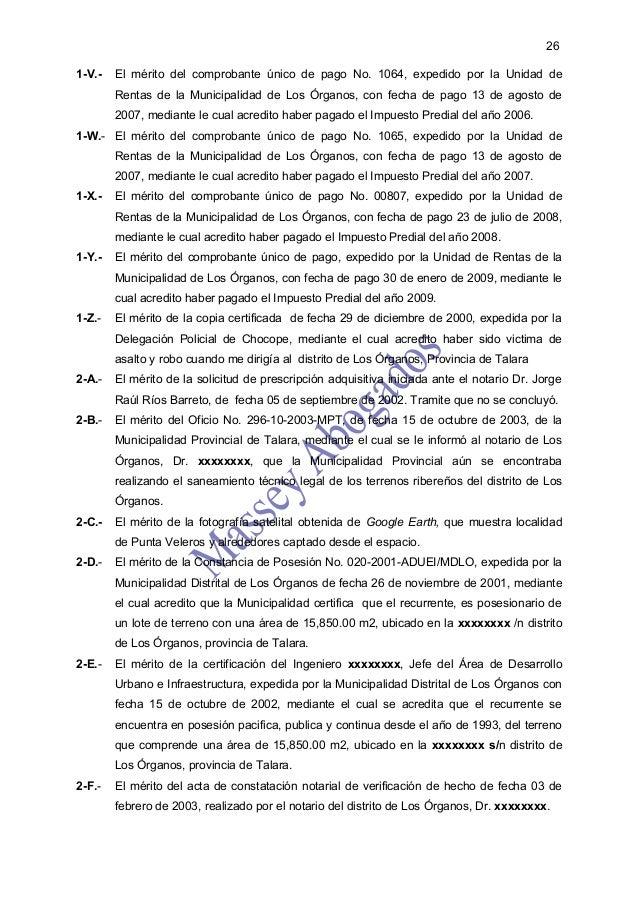 261-V.-   El mérito del comprobante único de pago No. 1064, expedido por la Unidad de        Rentas de la Municipalidad de...