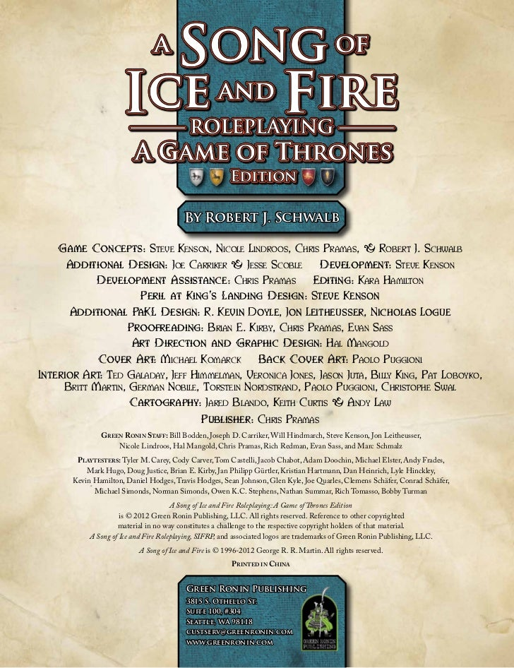 A Song Of Ice And Fire Roleplaying Pdf