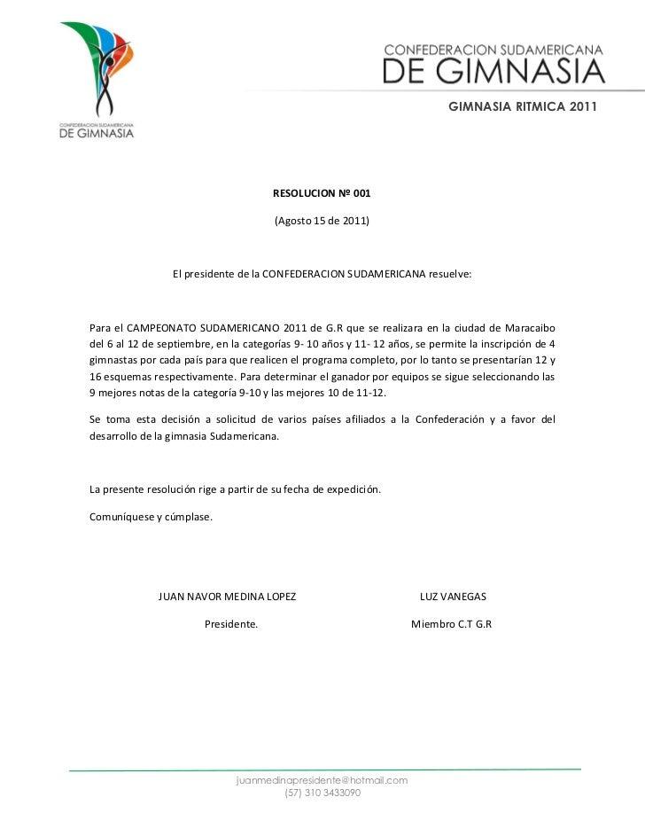GIMNASIA RITMICA 2011                                       RESOLUCION Nº 001                                        (Agos...