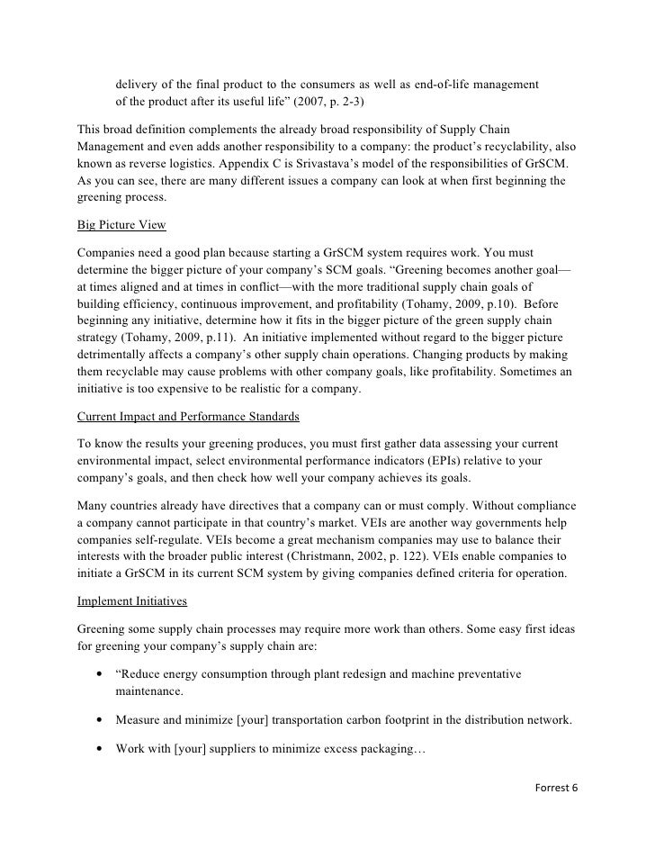 green supply chain management essay (results page 2) view and download supply chain management essays examples also discover topics, titles, outlines, thesis statements, and conclusions for your supply chain management essay.