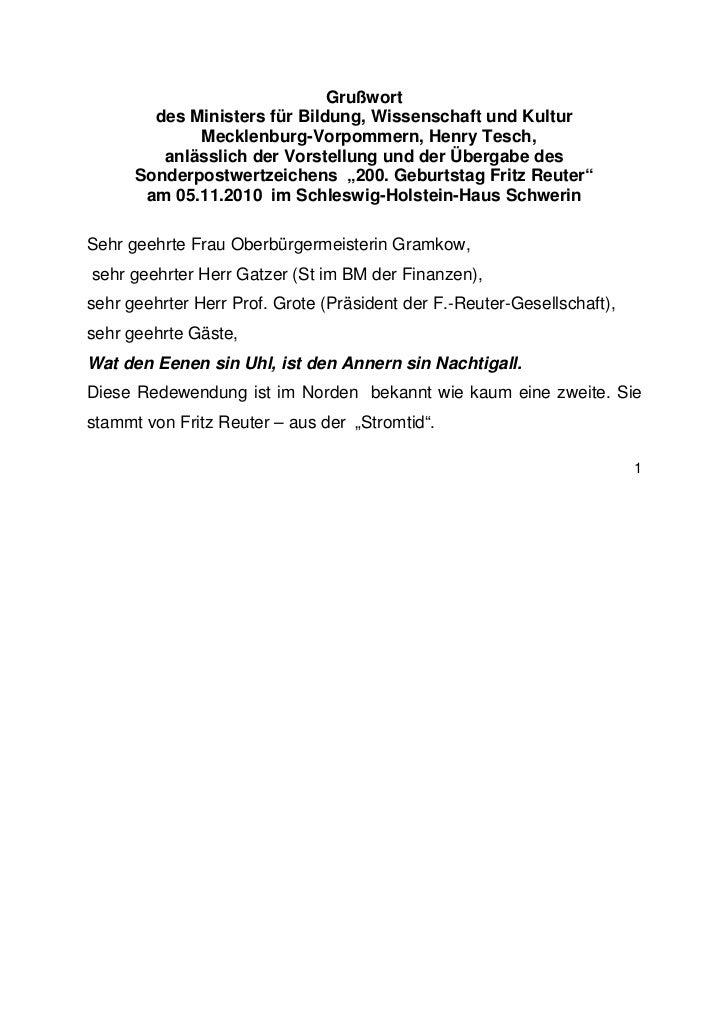 Grußwort        des Ministers für Bildung, Wissenschaft und Kultur             Mecklenburg-Vorpommern, Henry Tesch,       ...