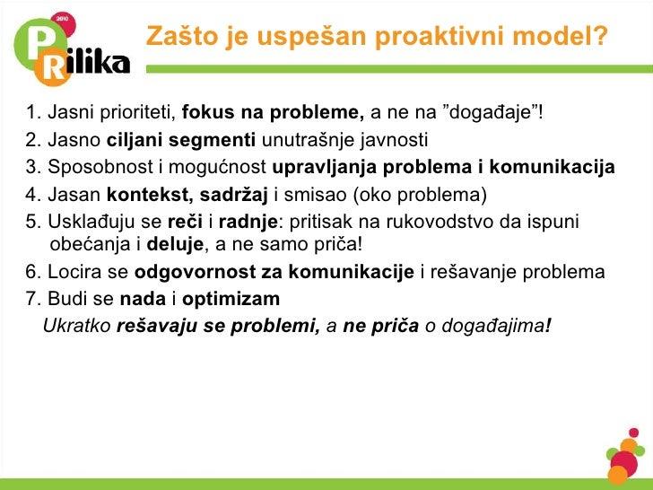 """Zašto je uspešan proaktivni model? <ul><li>1. Jasni prioriteti ,  fokus na probleme,  a ne na """"događaje"""" ! </li></ul><ul><..."""