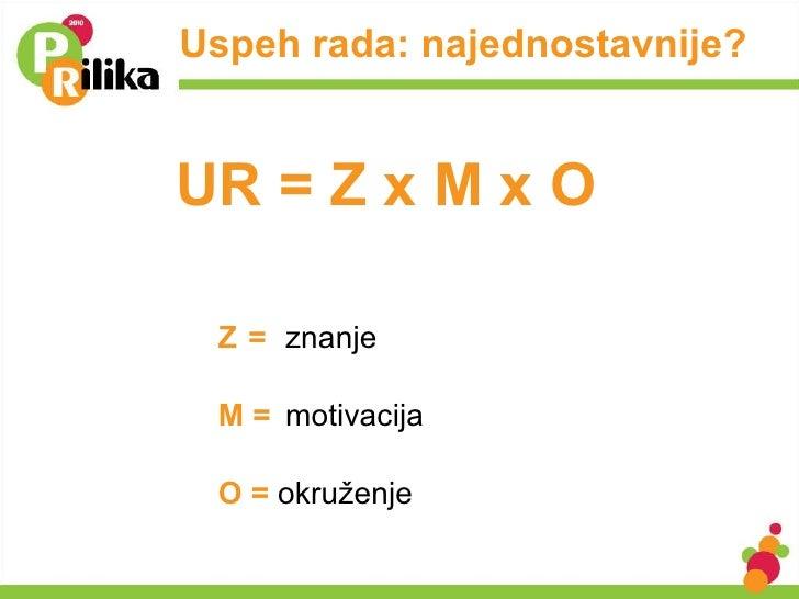 Uspeh rada: najednostavnije? <ul><li>Z = znanje </li></ul><ul><li>M = motivacija </li></ul><ul><li>O =   okruženje </li></...