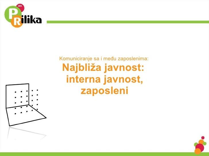 Komuniciranje sa i među zaposlenima:  Najbliža javnost:  interna javnost, zaposleni
