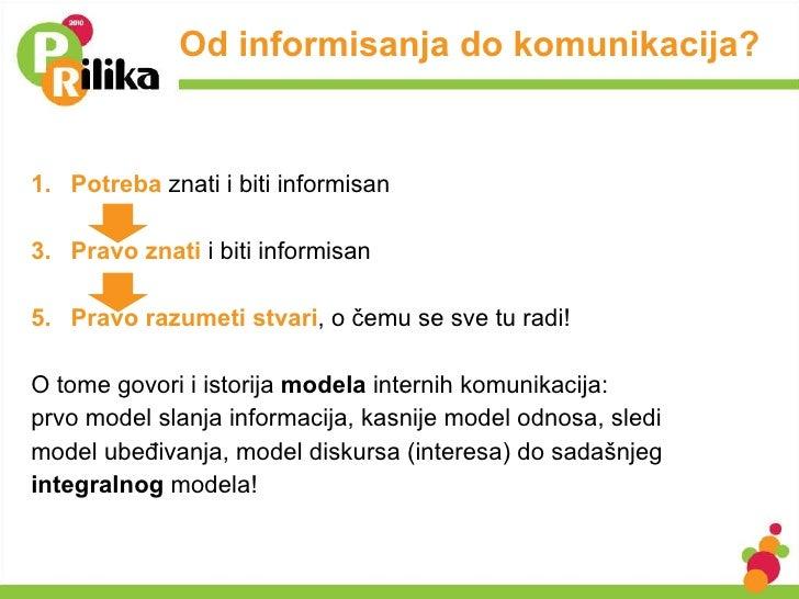 Od informisanja do komunikacija?  <ul><li>Potreba   znati i biti informisan </li></ul><ul><li>Pravo znati  i biti informis...