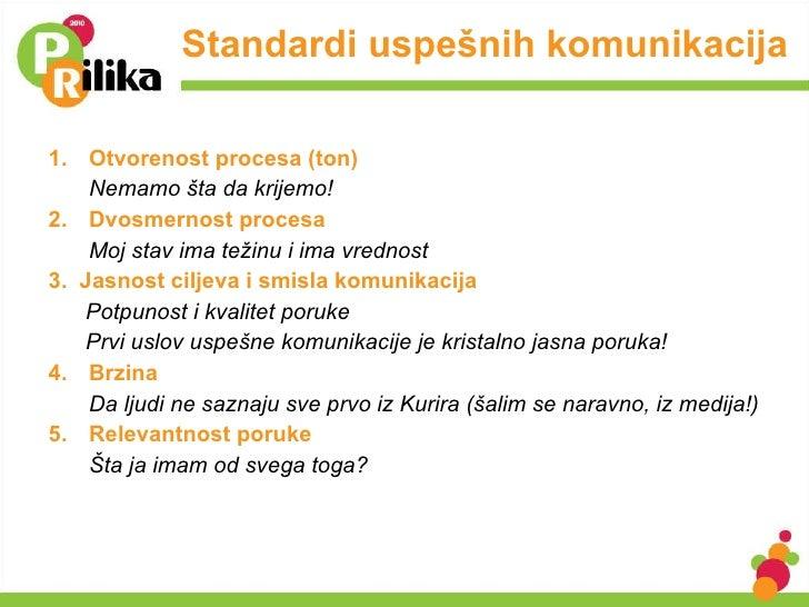 Standardi uspešnih komunikacija <ul><li>1. Otvorenost procesa (ton) </li></ul><ul><li>Nemamo šta da krijemo! </li></ul><ul...