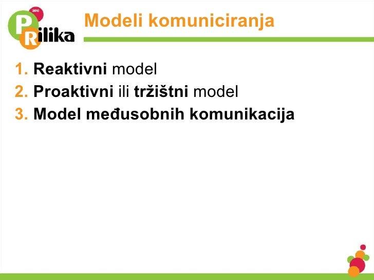Modeli komuniciranja <ul><li>Reaktivni  model </li></ul><ul><li>Proaktivni  ili  tržištni  model </li></ul><ul><li>Model m...