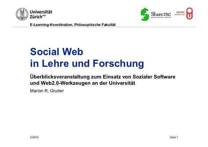 E-Learning-Koordination, Philosophische FakultätSocial Webin Lehre und ForschungÜberblicksveranstaltung zum Einsatz von So...