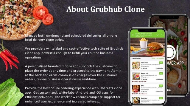 About Grubhub Clone Manage both on-demand and scheduled deliveries all on one food delivery clone script. We provide a whi...