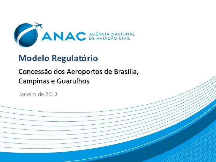 Modelo RegulatórioConcessão dos Aeroportos de Brasília,Campinas e GuarulhosJaneiro de 2012