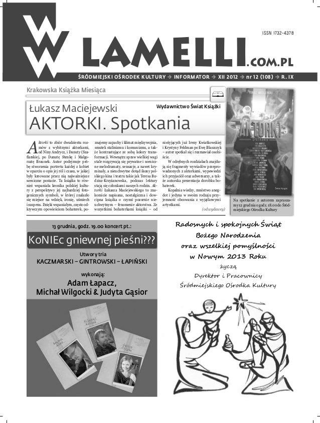 ISSN 1732-4378                                   LAMELLI                                  ŚRÓDMIEJSKI OŚRODEK KULTURY  IN...