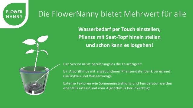 Die FlowerNanny bietet Mehrwert für alle  Der integrierte Wassertank reicht je nach Pflanzenart für mehrere Wochen  Die er...