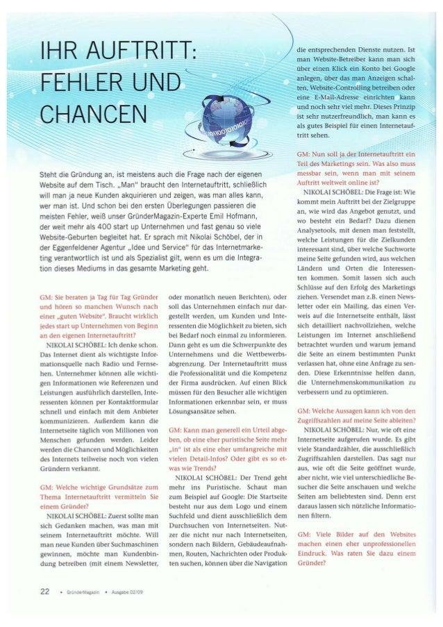 Ihr Auftritt: Fehler und Chancen - Gründermagazin 02-09