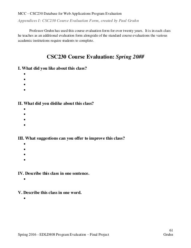 Program Evaluation Form