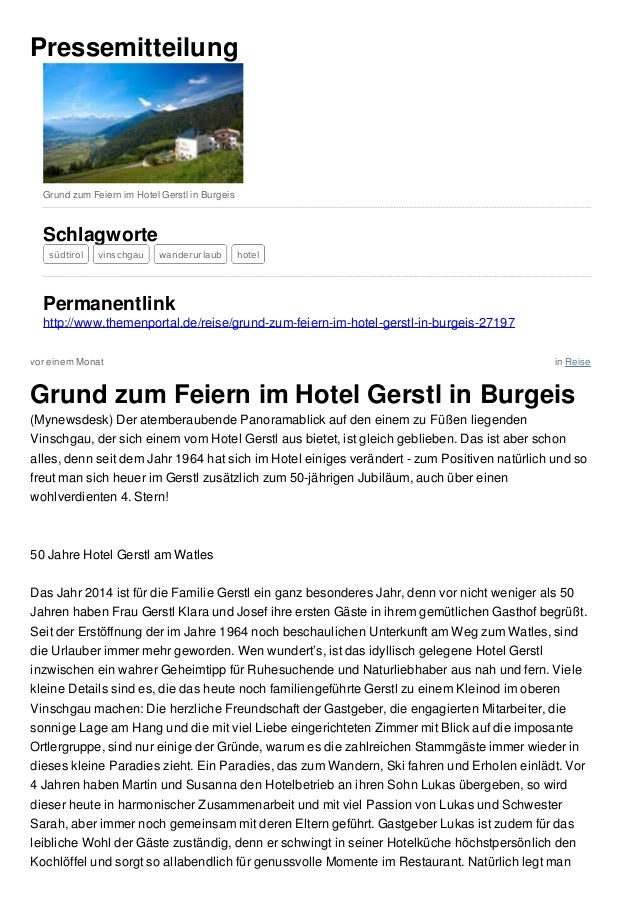 vor einem Monat in Reise Pressemitteilung Grund zum Feiern im Hotel Gerstl in Burgeis Schlagworte südtirol vinschgau wande...