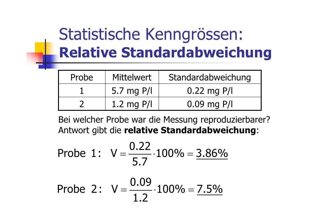 Statistische Kenngrössen:Relative Standardabweichung  Probe     Mittelwert    Standardabweichung    1       5.7 mg P/l    ...