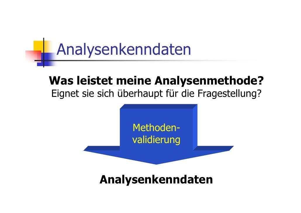 AnalysenkenndatenWas leistet meine Analysenmethode?Eignet sie sich überhaupt für die Fragestellung?                  Metho...