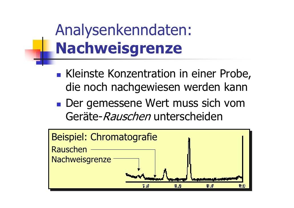 Analysenkenndaten:Nachweisgrenze   Kleinste Konzentration in einer Probe,   die noch nachgewiesen werden kann   Der gemess...