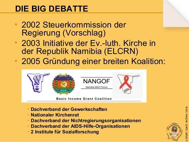 DIE BIG DEBATTE  + Dachverband der Gewerkschaften + Nationaler Kirchenrat + Dachverband der Nichtregierungsorganisationen ...
