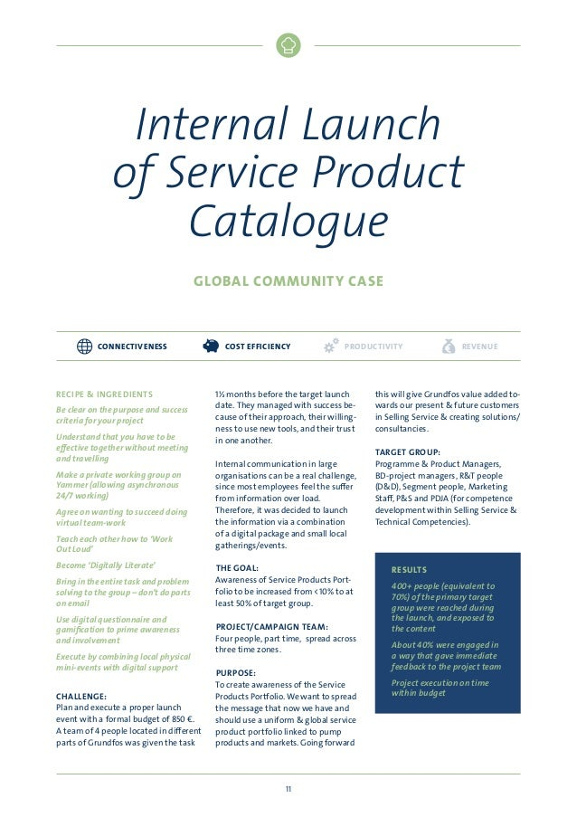 Internal Launch of Service Product Catalogue GLOBAL COMMUNITY CASE  CONNECTIVENESS  RECIPE  INGREDIENTS Be clear on the pu...