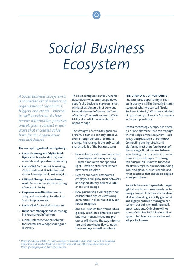 Social Business Ecosystem A Social Business Ecosystem is a connected set of interacting organisational capabilities, trigg...