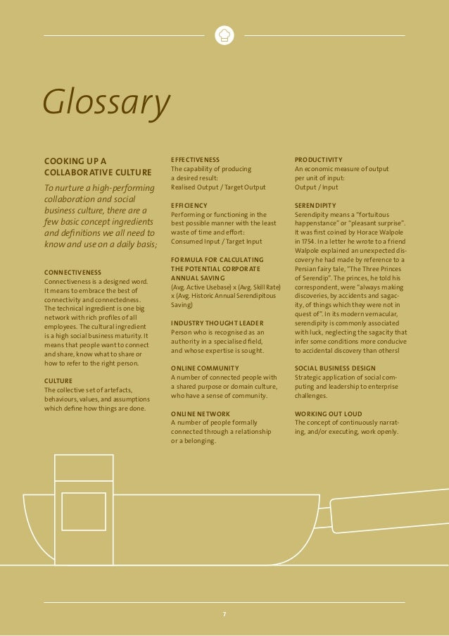 Glossary COOKING UP A COLLABORATIVE CULTURE To nurture a high-performing collaboration and social business culture, there ...