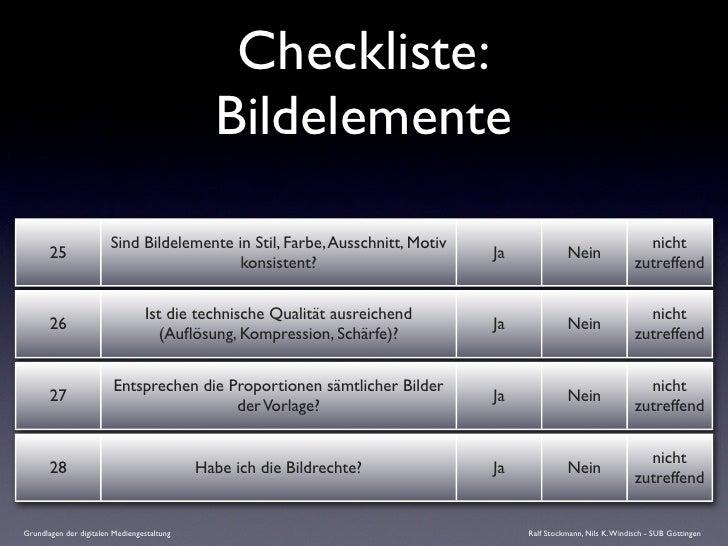 Checkliste:                                               Bildelemente                          Sind Bildelemente in Stil,...