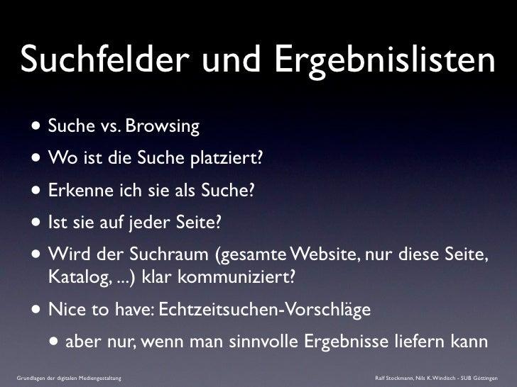 Suchfelder und Ergebnislisten      • Suche vs. Browsing      • Wo ist die Suche platziert?      • Erkenne ich sie als Such...