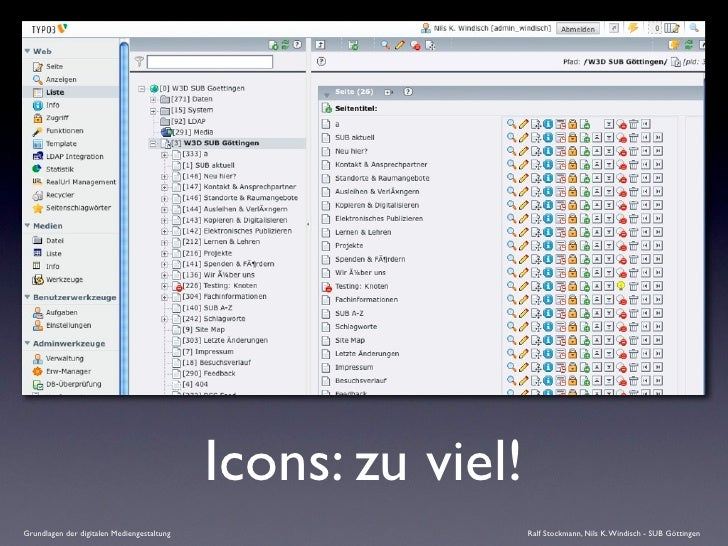 Icons: zu viel! Grundlagen der digitalen Mediengestaltung                     Ralf Stockmann, Nils K. Windisch - SUB Götti...