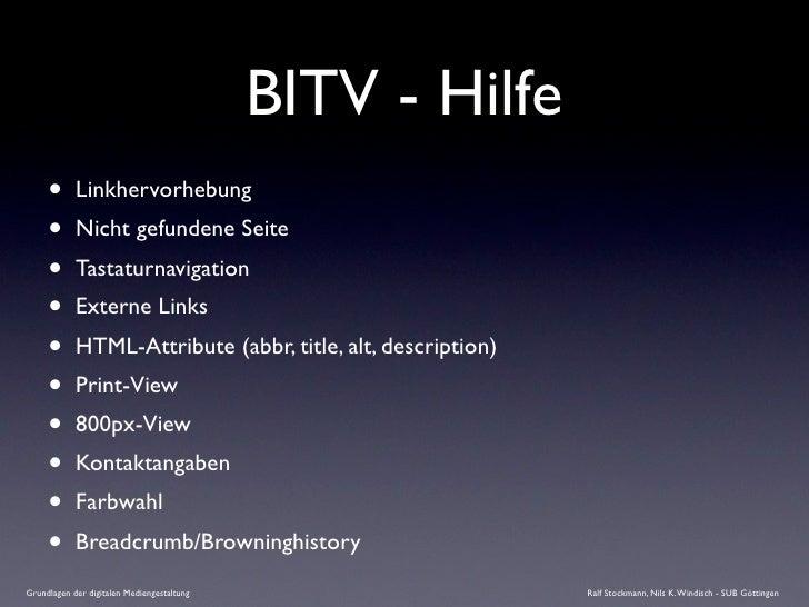 BITV - Hilfe      •      Linkhervorhebung      •      Nicht gefundene Seite      •      Tastaturnavigation      •      Ext...
