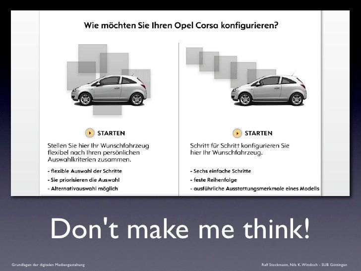 Don't make me think! Grundlagen der digitalen Mediengestaltung   Ralf Stockmann, Nils K. Windisch - SUB Göttingen