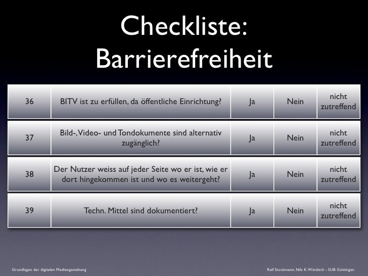 Checkliste:                                             Barrierefreiheit                                                  ...