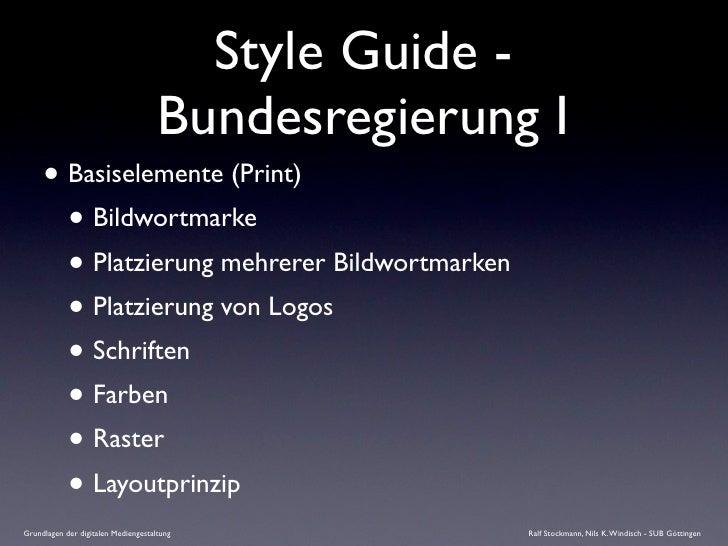 Style Guide -                                      Bundesregierung I      • Basiselemente (Print)        • Bildwortmarke  ...