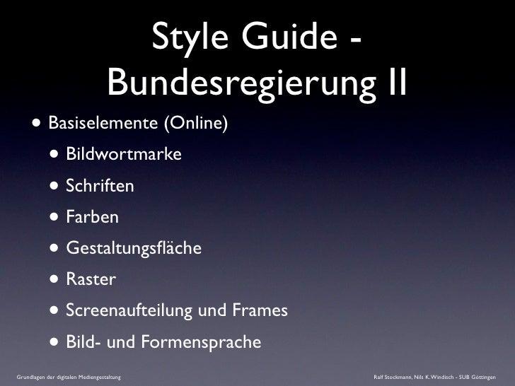Style Guide -                                    Bundesregierung II      • Basiselemente (Online)        • Bildwortmarke  ...