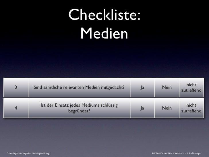 Checkliste:                                               Medien                                                          ...