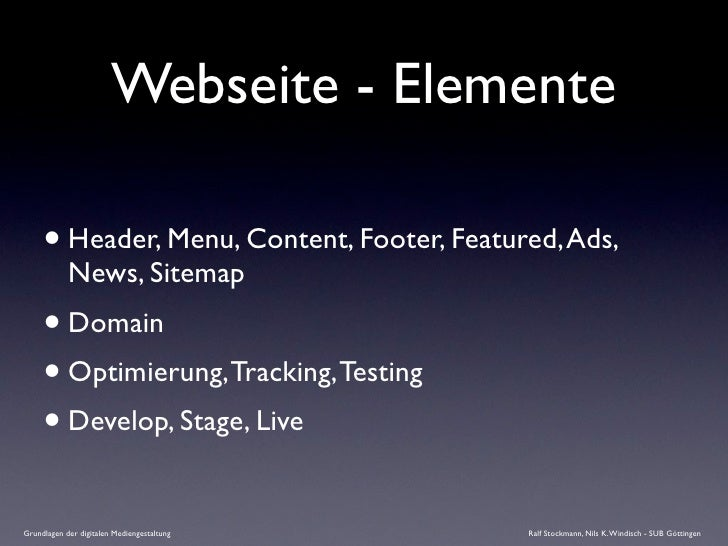 Webseite - Elemente       • Header, Menu, Content, Footer, Featured, Ads,             News, Sitemap      • Domain      • O...