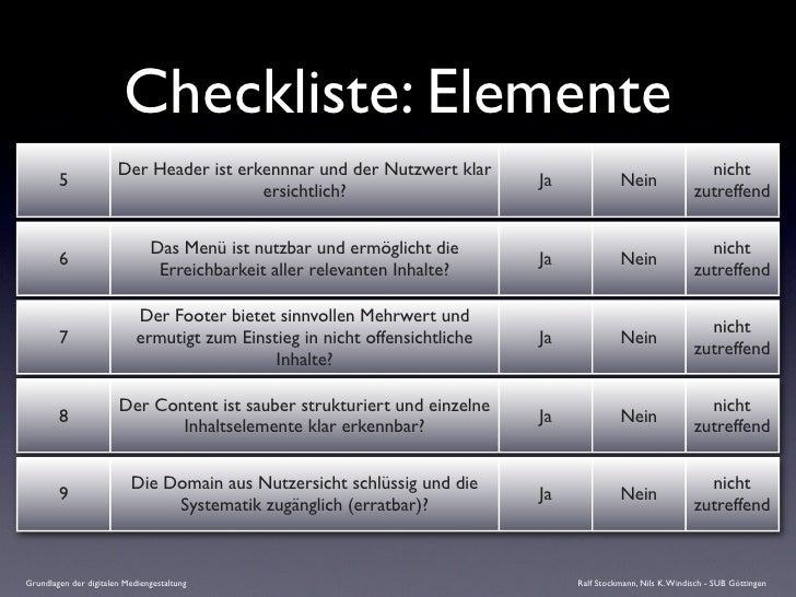 Checkliste: Elemente                        Der Header ist erkennnar und der Nutzwert klar                                ...