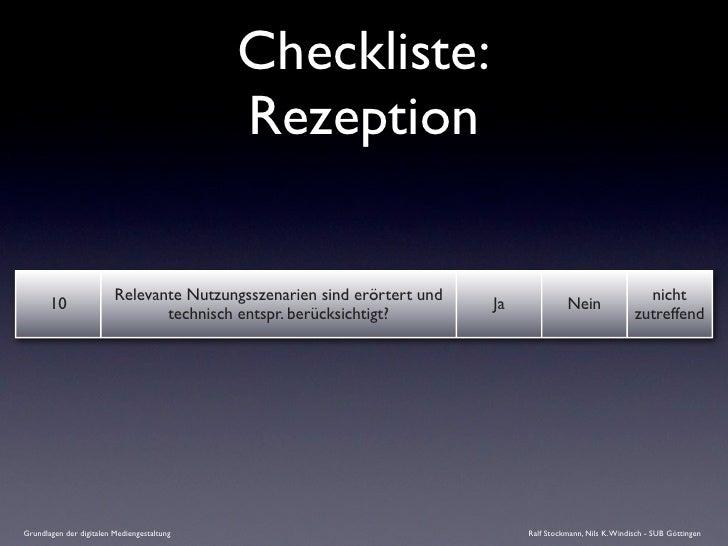 Checkliste:                                             Rezeption                           Relevante Nutzungsszenarien si...