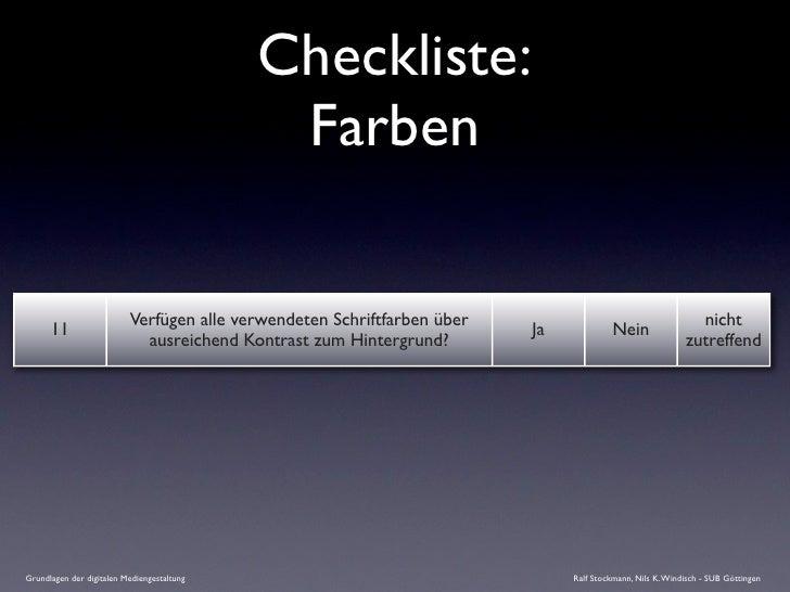 Checkliste:                                              Farben                            Verfügen alle verwendeten Schri...