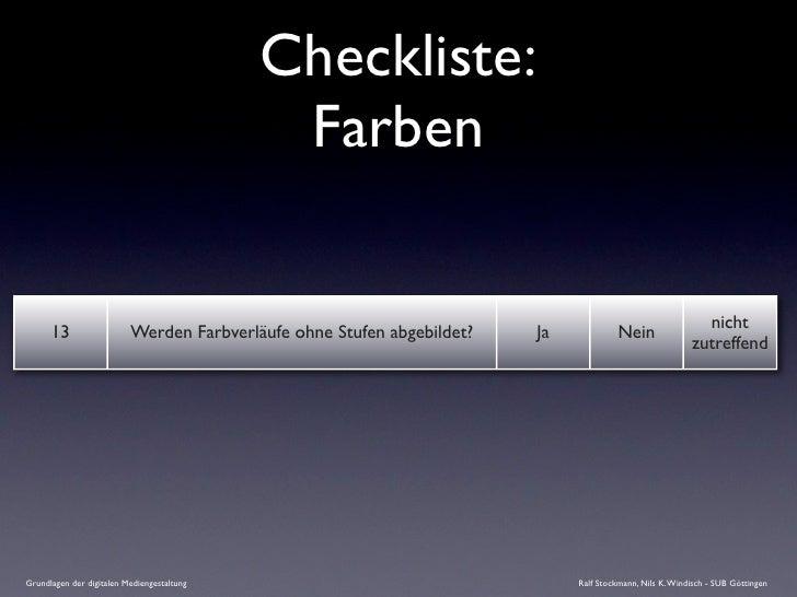 Checkliste:                                              Farben                                                           ...