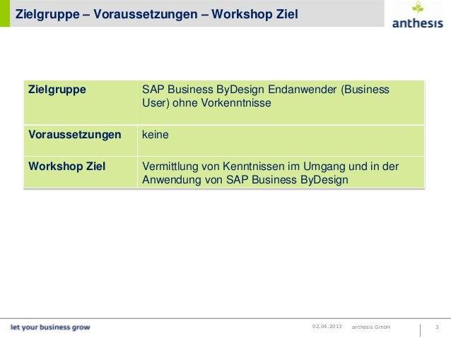 Zielgruppe – Voraussetzungen – Workshop Ziel  Zielgruppe        SAP Business ByDesign Endanwender (Business               ...