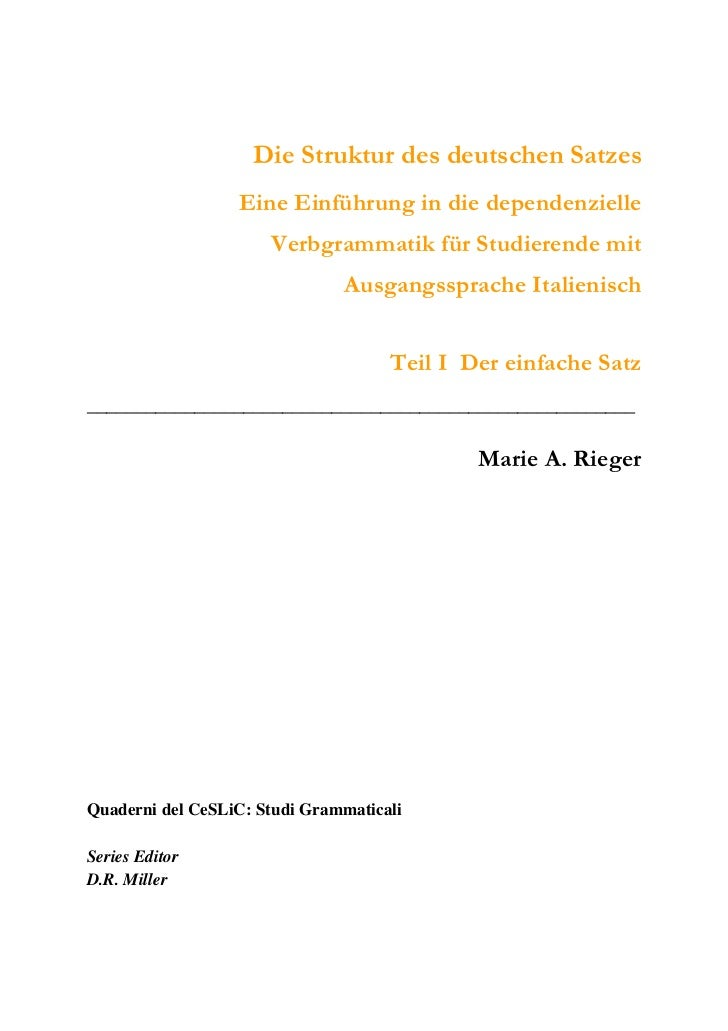 Die Struktur des deutschen Satzes                  Eine Einführung in die dependenzielle                      Verbgrammati...